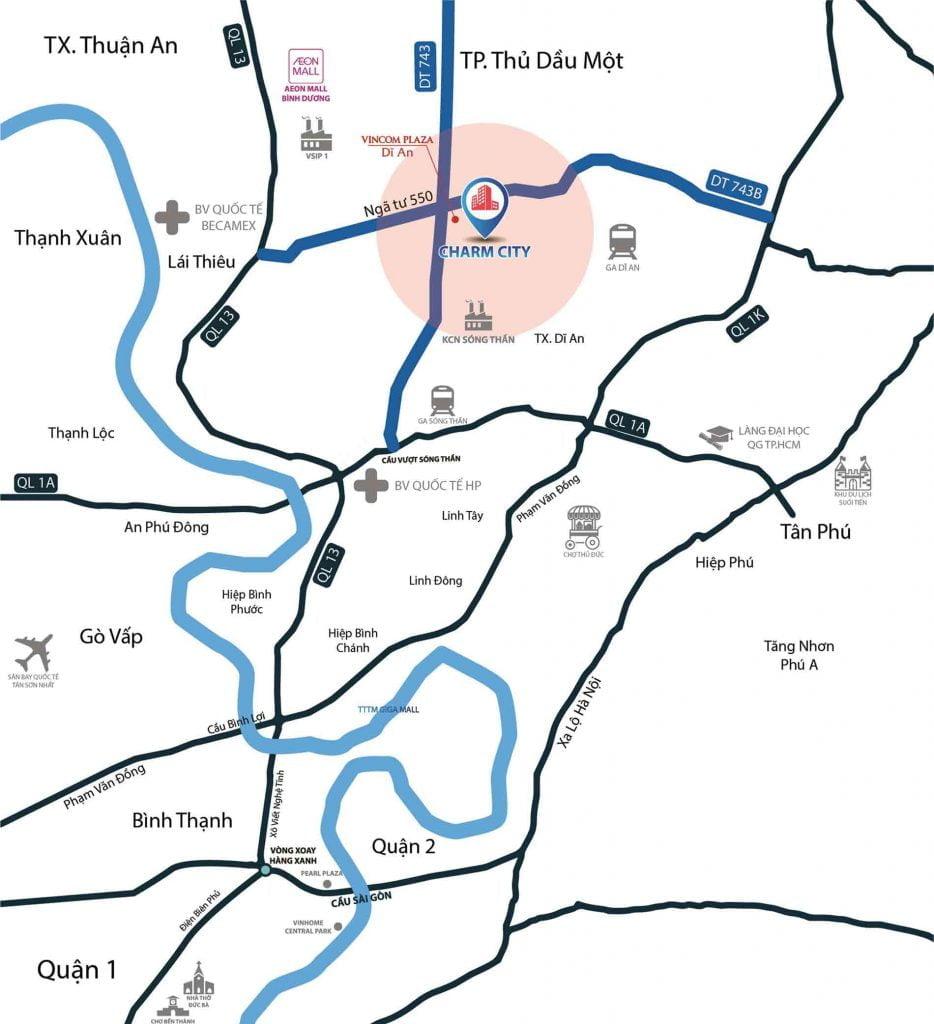 Bản đồ vị trí dự án Charm City
