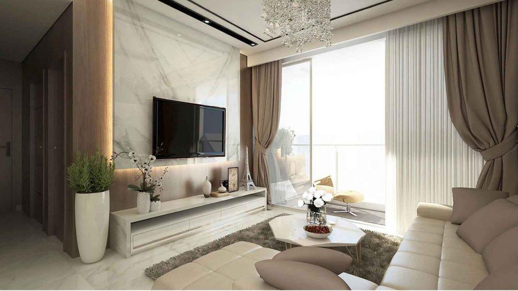 Hình ảnh minh họa phòng khách căn hộ Sunwah Pearl 3 phòng ngủ