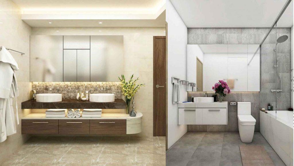 Phòng tắm căn hộ Sunwah Pearl cho thuê với 2 lavobo