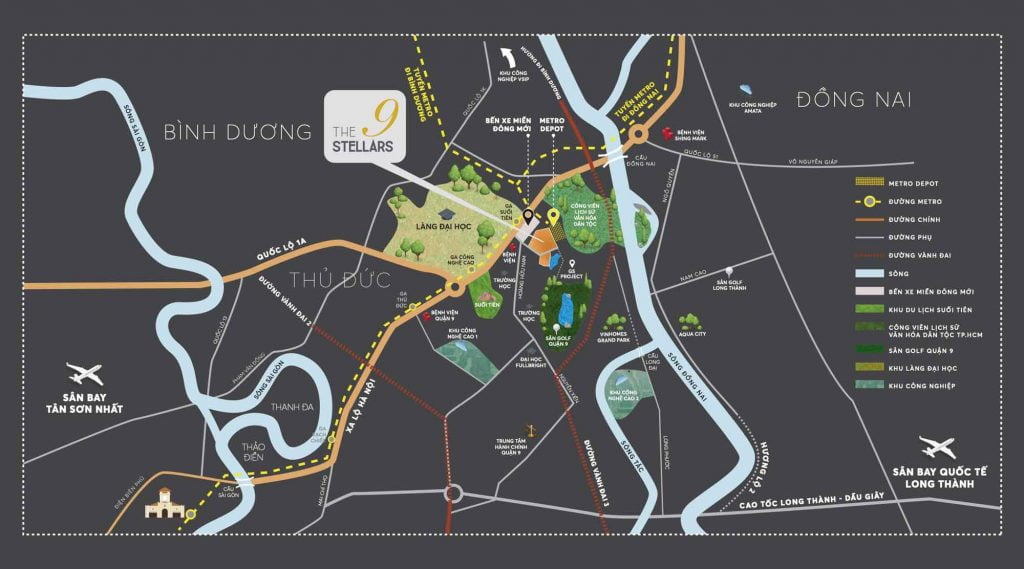 Bản đồ vị trí của dự án nằm ngay giữa trung tâm công viên cây xanh, sân golf và làng đại học Thủ Đức