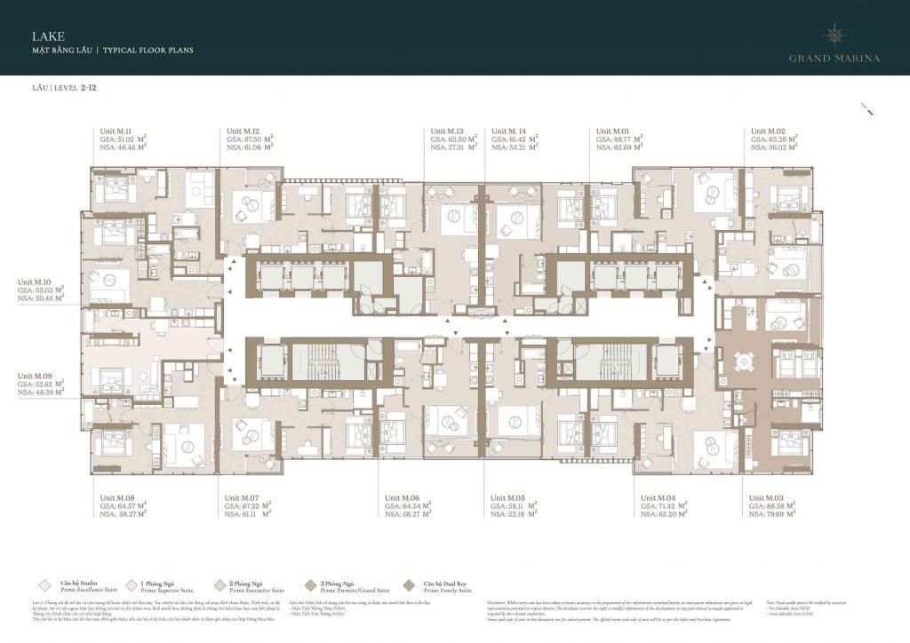 Mặt bằng căn hộ tiêu chuẩn tầng 2-12 tòa Lake sẽ được mở bán đầu tiên