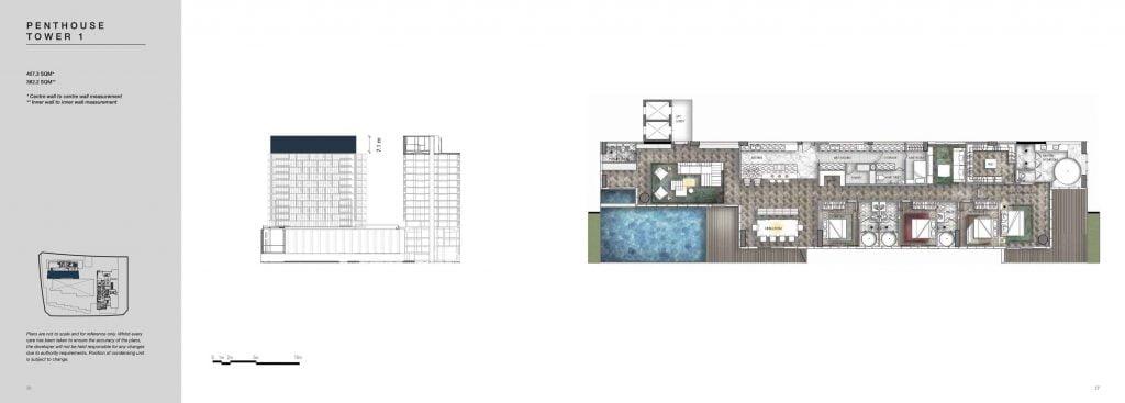 Mặt bằng Penthouse Empire City Thủ Thiêm Tower 1 giai đoạn COVE