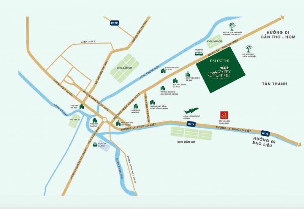 Vị trí dự án nằm trên đường Trần Hưng Đạo thành phố Cà Mau