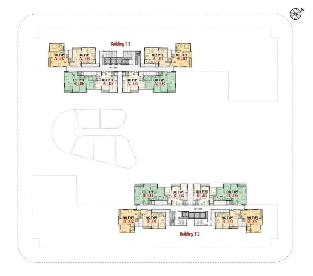 Mặt bằng căn hộ tiêu chuẩn tầng 5-12