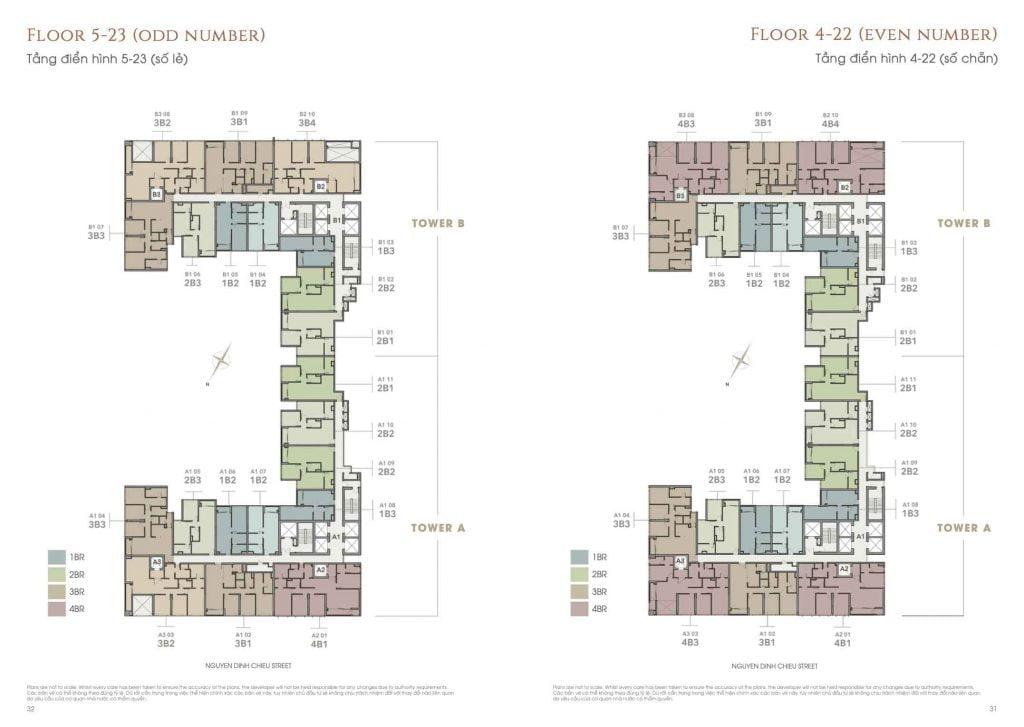 Mặt bằng căn hộ The Marq tầng 4-23