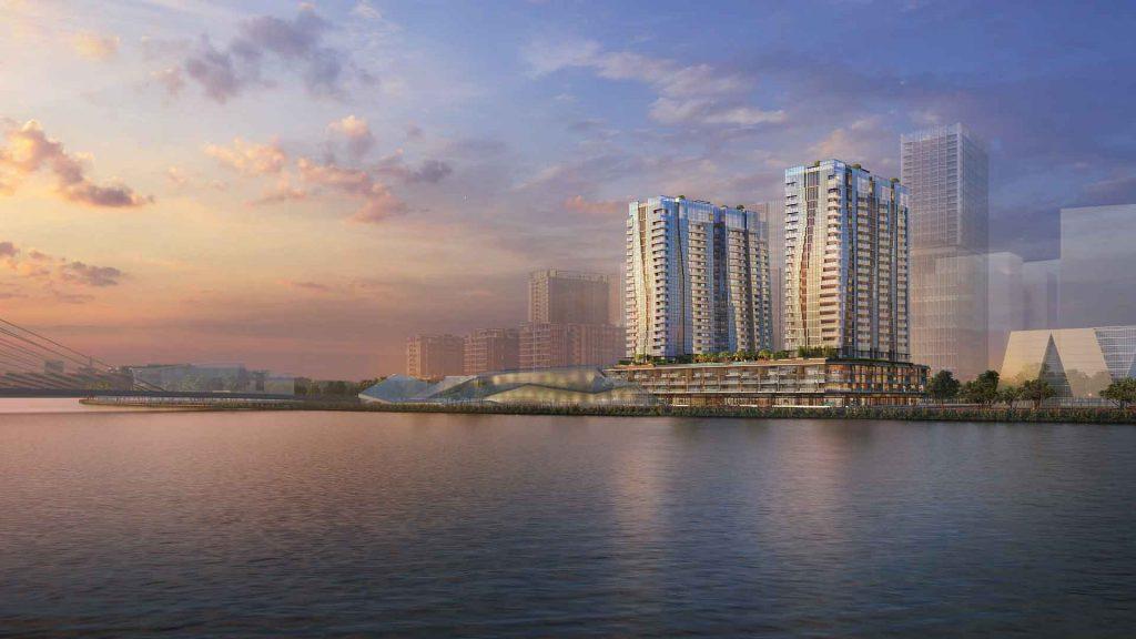 Hình phối cảnh 2 toà tháp căn hộ cao 24 tầng thuộc Opera Residence