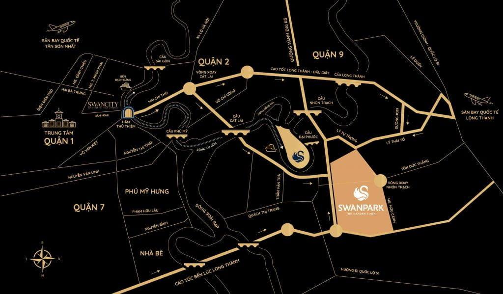 Vị trí dự án SwanPark thuộc địa bàn huyện Nhơn Trạch Tỉnh Đồng Nai