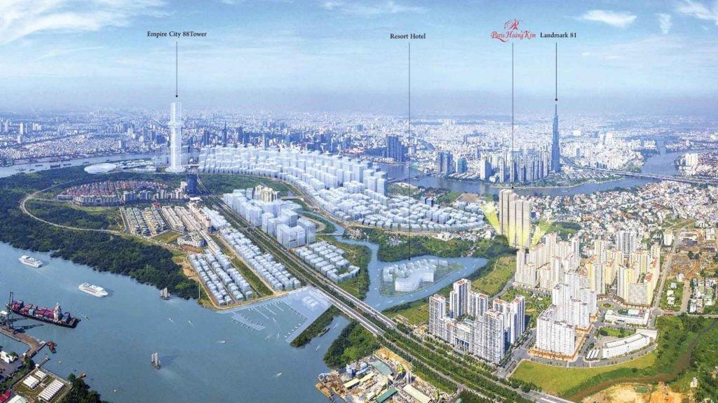 Căn hộ Paris Hoàng Kim nằm ngay trung tâm khu đô thị mới Thủ Thiêm, Quận 2, thành phố Thủ Đức