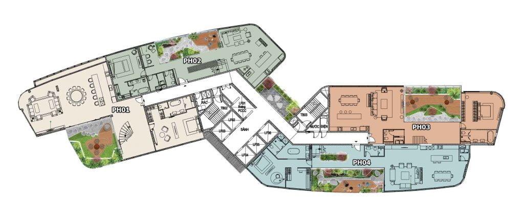 Mặt bằng Penthouse Thảo Điền Green tầng 24+25