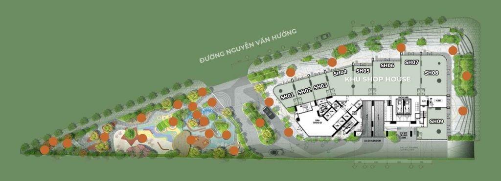 Mặt bằng và vị trí 9 căn Shophouse tại tầng 1 của dự án