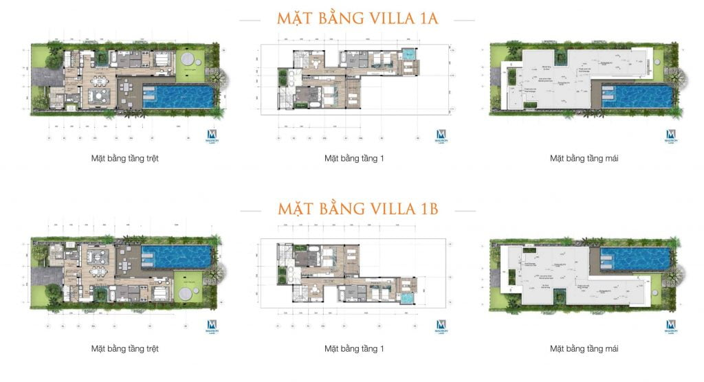Mặt bằng villa 1A và 1B cùng diện tích và đối xứng nhau