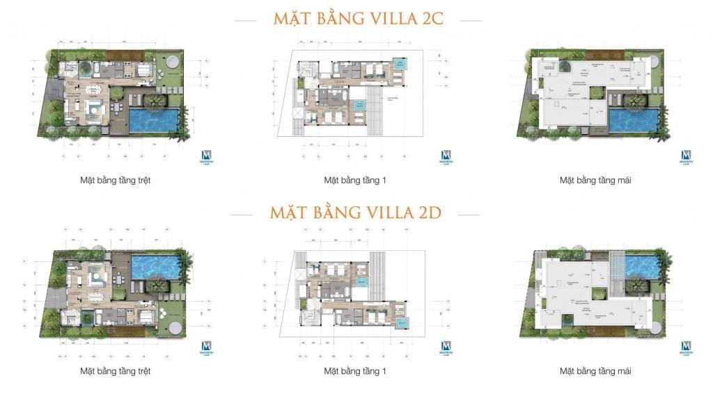 Mặt bằng Villa 2C & 2D thuộc phân khu Sea Breeze