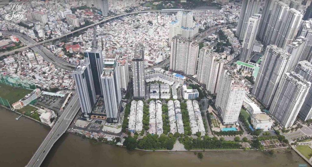 Toàn cảnh khu phức hợp Saigon Pearl và Sunwah Pearl chụp từ trên cao năm 2020