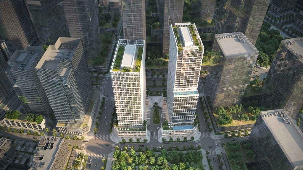 Hình ảnh mới nhất về 2 toà tháp căn hộ kết hợp văn phòng The Amaris Residence giai đoạn 4 của dự án The Metropole Thủ Thiêm