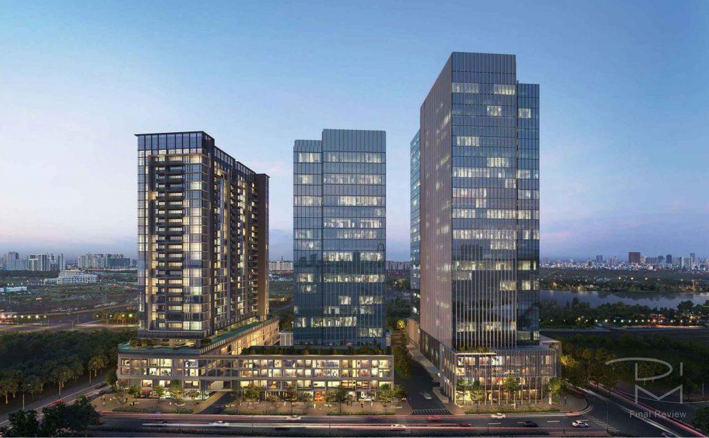 Hình phối cảnh The Crest Residence với 1 toà tháp căn hộ và 2 toà tháp văn phòng