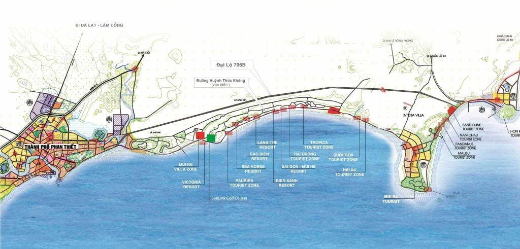 Bản đồ vị trí các dự án nằm trong Top 4 biệt thự Mũi Né